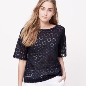 Loft Petites Navy Eyelet Shell Top